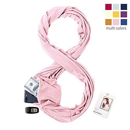 (Infinity Scarf Travel Scarf with Pockets - Hidden Zipper Pocket Scarf Pink)
