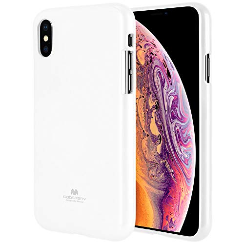 iPhone Xs Max Case [Slim Fit] GOOSPERY [Lightweight] Pearl Jelly [Flexible] Rubber TPU Case [Soft Glitter] Bumper Cover [Protection] for Apple iPhone Xs Max (White) IPXSP-JEL-WHT