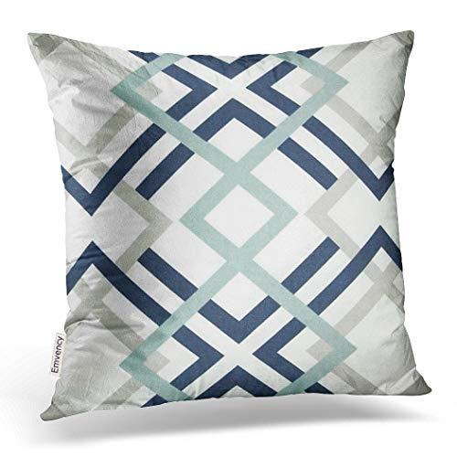 Emvency Throw Pillow Cover Navy Blue and Aqua Graphic Art Decorative Pillow Case Gray Home Decor Square 20 x 20 Inch Cushion Pillowcase (Decorative Blue Aqua Pillows)