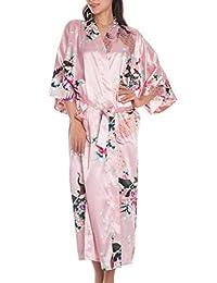 Feoya Women's Kimono Belted Robe Peacock & Blossoms Printing Silk Long Nightwear