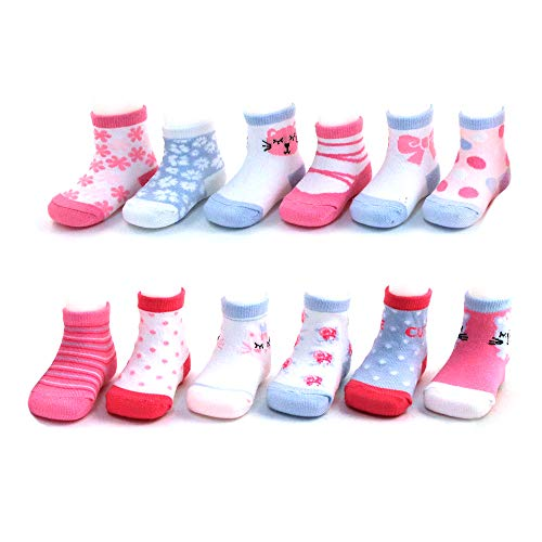 Rising Star Baby Girls Assorted Color Designs 12 Pair Socks Set, Age 0-24 Months (12-24 Months, Kitty Design Collection) 12 Month Socks Box