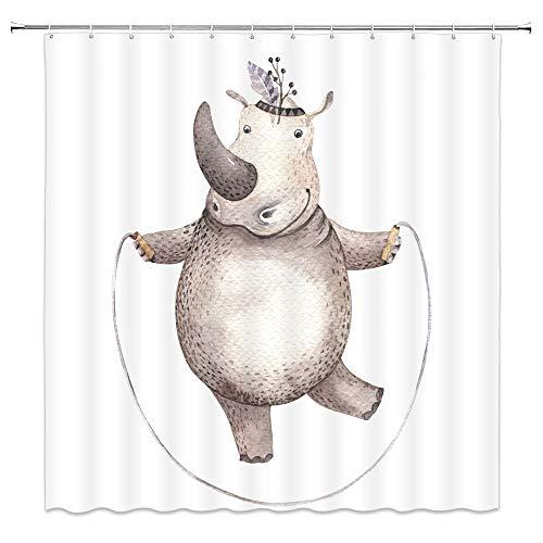 Hippos Skipping - qianliansheji Hippo Shower Curtain Skipping Hippo Cartoon Hippo Cute Personality Shower Curtain 70×70 Can Be Customized (Multi 1310)