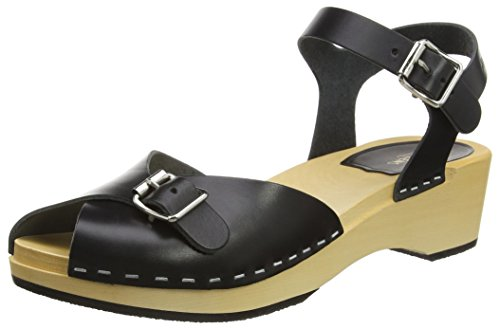 Pia Black Sandals Women's Hasbeens Toe Debutant Swedish Open gZTa6