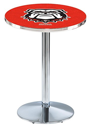 Holland Bar Stool L214C42GA-Dog 42 In. Chrome Georgia Bulldog Pub Table Bulldogs 42 Pub Table