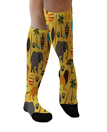Africa Seemless Pattern Cool Novelty Men Women 11'' Knee Socks Large Size by Design A Sock