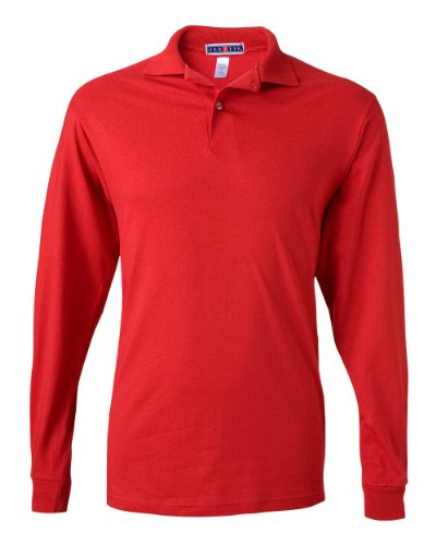 Jerzees mens 5.6 oz. 50/50 Long-Sleeve Jersey Polo with SpotShield(437ML)-TRUE RED-XL (Red Long Sleeve Rugby Shirt With White Collar)