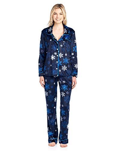 Ashford & Brooks Women's Long Sleeve Minky Micro Fleece Pajama Set- Navy Frozen Snowflake- 2X