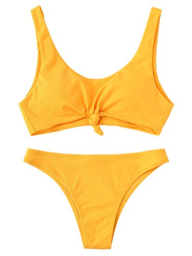 SweatyRocks Women's Sexy Bathing Suit Solid Color Push Up Padded Knot Bikini Set Yellow M