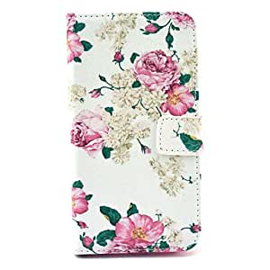 20150511 Rich peony pattern 360 Degree Rotation PU Material Full Body Case for Samsung Galaxy 6