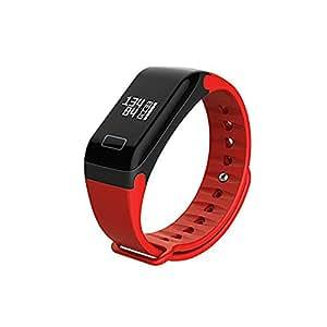 SoloKing F11 Pulsera Actividad con Monitor Ritmo Cardíaco,Presión Arterial,Llamada/Mensaje/Alertas(Rojo)