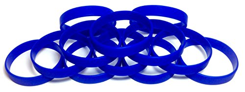 TheAwristocrat 1 Dozen Multi-Pack Blue Wristbands Bracelets Silicone Rubber - Select from a Variety of Colors (Blue, Adult (8