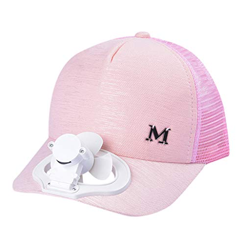 HYIRI England Summer Fan Cooling Baseball Cap Hat USB Charging Breathable Shade Sunscreen Hat Pink
