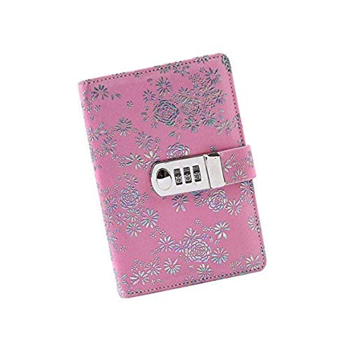 Lvcky 1pièce rétro Rose Cuir Mot de Passe Ordinateur Portable Journal Verrouillage carnets Secret Diary Portables avec Code à Anneaux à Couverture Rigide Cadeau lumière Café