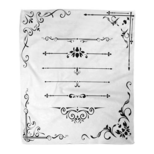 Golee Throw Blanket Border Calligraphic Caligraphy Ornate Abstract Black Book Certificate Classic 50x60 Inches Warm Fuzzy Soft Blanket for Bed Sofa ()