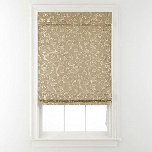 Steward Roman Shade Linen Scrollwork - Roman Shades Linen