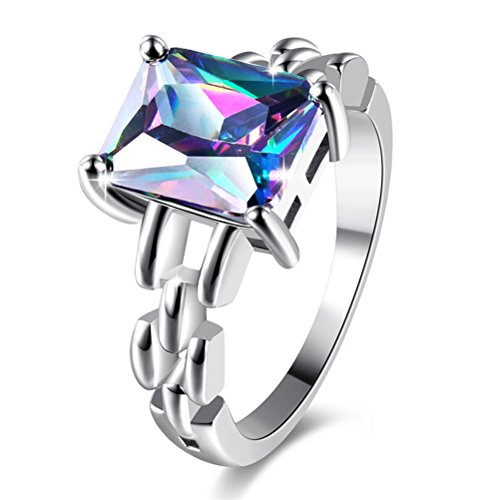 - TEMEGO Created Rainbow Topaz Emerald Cut Engagement Ring for Women Girls, 14k Silver Plated, Size 7 8 9