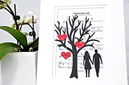 Personalized First Anniversary or Wedding Gift - 3D Paper Tree & Hearts Sheet Music - Custom 1st Anniversary Gift- Paper Anniversary - \