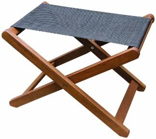 Outstanding Outdoor Interiors Sling And Eucalyptus Ottoman Stool Pdpeps Interior Chair Design Pdpepsorg