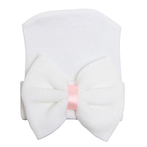 - Song Qing Bowknot Stripe Newborn Baby Girls Infant Toddler Hospital Beanie Hat Cap (White)