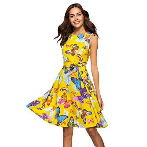 Women's Butterfly Print Dress Summer A Word Big Skirt Yellow