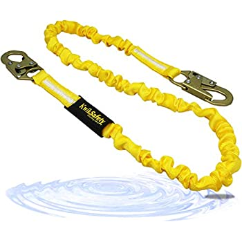 KwikSafety (Charlotte, NC) RATTLER 1 PACK (Internal Shock Absorber) Single Leg 6ft Safety Lanyard OSHA ANSI Fall Arrest Protection Equipment Snap Hooks Construction Arborist Roofing