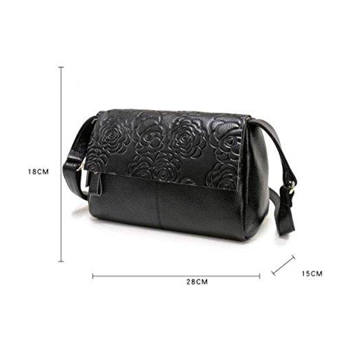 Versión Coreana Cuero Bolsos Paquete Simple Diagonal Salvaje Hombro Bolso De Impresión Black