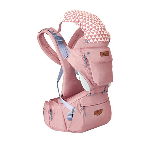 SUNVENO All Seasons HIPSEAT Ergonomic Baby Carrier 3in1 Baby Hip seat for Outdoor Travel(Pink)