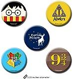 PrintOctopus Harry Potter Merchandise 2 in 1 Plastic Pin Badge + Fridge Magnet Set of 5