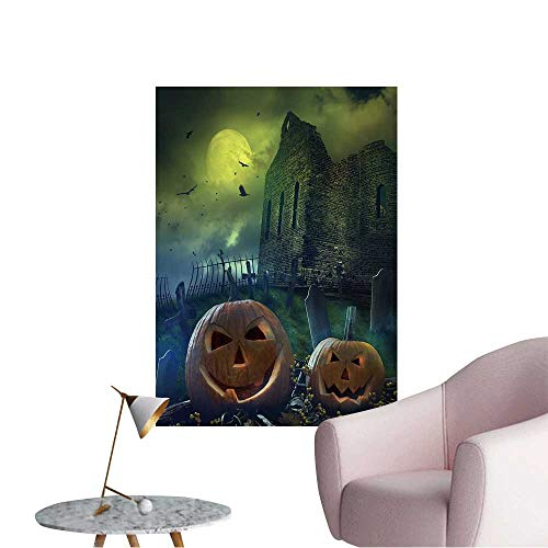 Wall Decals Spooky Pumpkins in Graveyard with Church Ruins Environmental Protection Vinyl,32