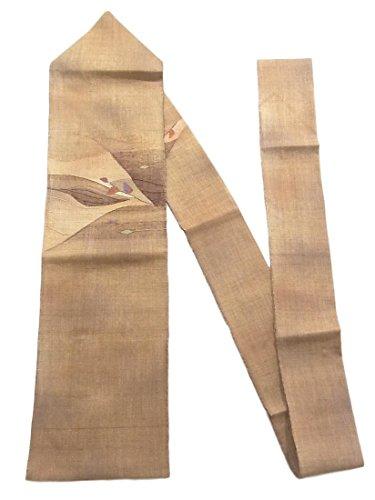 待って飽和する薬リサイクル 名古屋帯  紬 八寸 遠山に枝葉模様 正絹