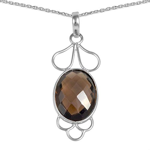 Orchid Jewelry 13.63 Ct Brown Oval Smoky Quartz 925 Sterling Silver June Birthstone Pendants for Women: Nickel Free Beautiful and Stylish Genuine for Wife