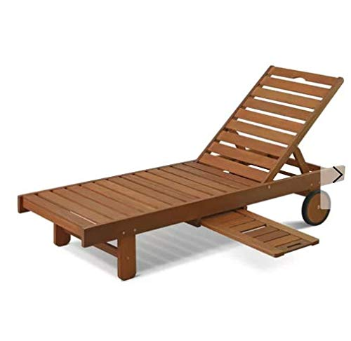 Cosmos eStore Wooden Patio Chaise Lounge with Wheels Bed Luxury Garden Outdoor Pool Furniture Seat