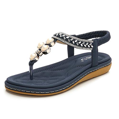 Tantisy ♣↭♣ Women's Bohemian Casual Sandals/Pearl Crystal Roman Sandals/Comfy Flat Shoes/Elastic Band/Heel High:3cm/1.2