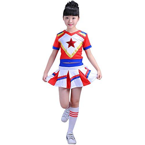 Dreamowl Girls Red Cheerleader Outfit Cheer Uniform with Pompom Socks (Girls Youth Cheerleader Outfit)