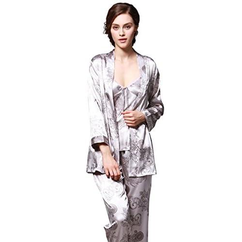 e4b216da10 Pijama de satén para mujer 3 unids conjuntos de pijamas de seda de la  elegancia ropa