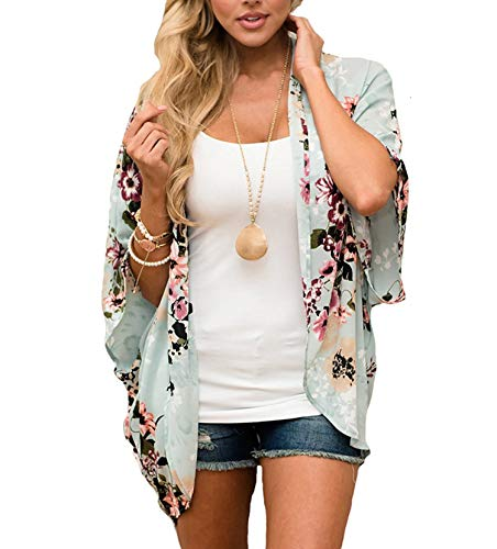 (Women's 3/4 Sleeve Floral Kimono Casual Cardigan Sheer Loose Shawl Chiffon Beach Cover Up (A-Light Green, M))