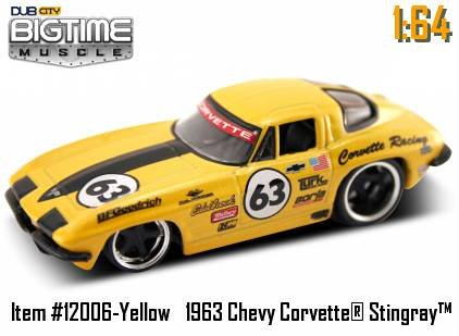Jada Dub City Big Time Muscle Yellow Racing 63 Chevy Corvette Sting Ray 1:64 Die Cast Car