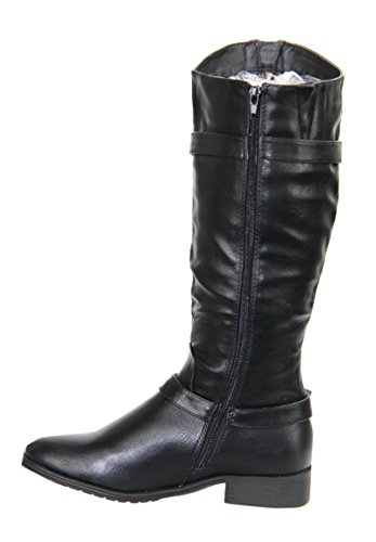 RJ03 NEW WOMEN LADIES MID CALF UNDER KNEE BIKER WINTER RIDING ZIP UP BOOTS SHOES Black mI8LAXcVdO