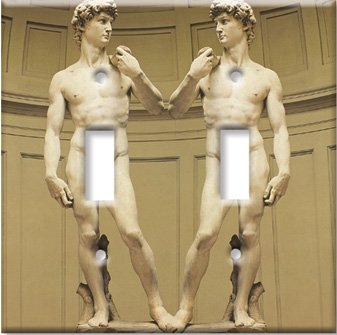 Art Plates - Michelangelo's David Switch Plate - Double Togg