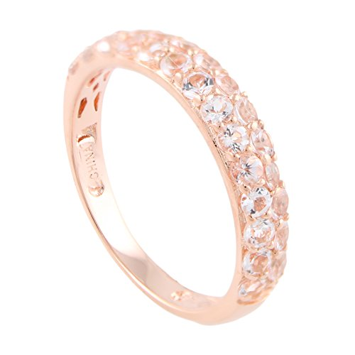 18K Rose Gold Plated Sterling Silver Morganite Double-row Stackable Ring, Size 7