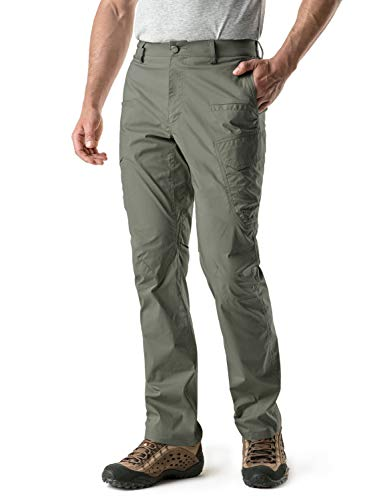 CQR CQ-TXP401-OLV_34W/34L Men's Outdoor Adventure Rugged Pants Hiking Camping Stretch Durable UPF 50+ Quick Dry Cargo Trousers TXP401
