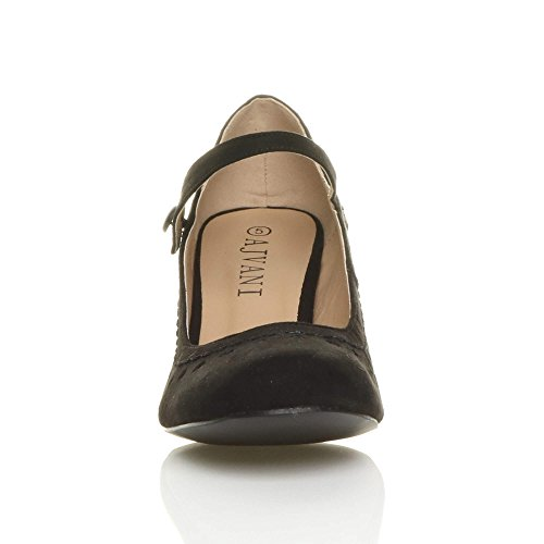 Zapatos Black Mujer De Para Vestir Suede Ajvani RxwqCPfdq