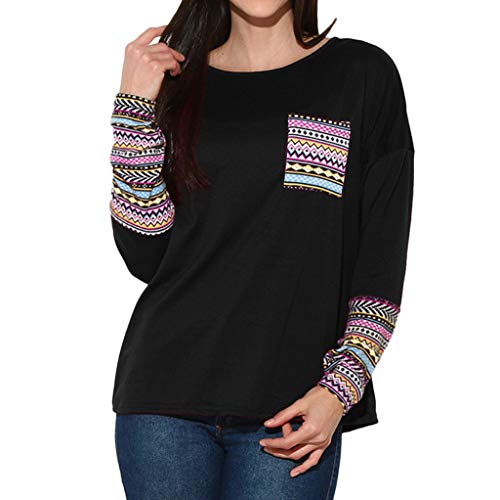 Wobuoke Women's Sweatshirt Color Block Long Sleeve Pullover Tops Loose Tunic Pullover Outwear for $<!--$6.68-->