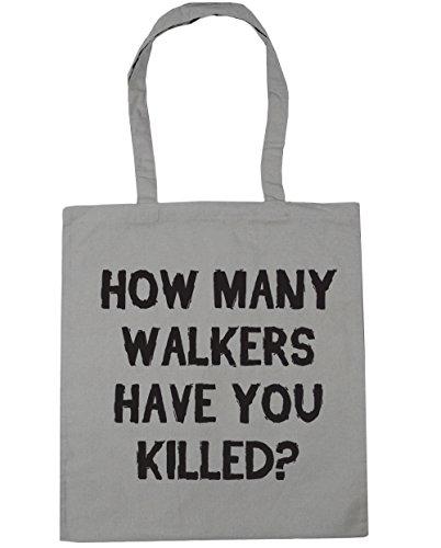 HippoWarehouse cómo muchos Walkers Have You Killed Tote Compras Bolsa de playa 42cm x38cm, 10litros gris claro
