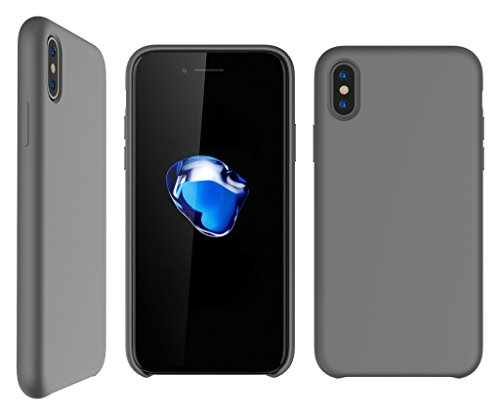 Bear Motion for iPhone X/XS Case - Premium Shockproof Impact Resistant Back Cover Case for iPhone X/XS with Premium Liquid Silicon Microfiber Lining (Gray) ()