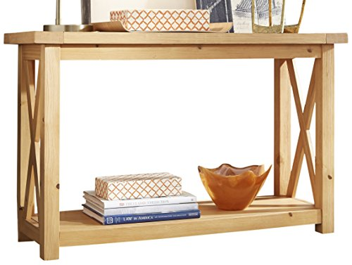 Home Styles Country Lodge Honey Pine Console Table with X-frame, Shelf Storage, Solid Pine Frame, Plank Top Design, and Wire Brushed Finish