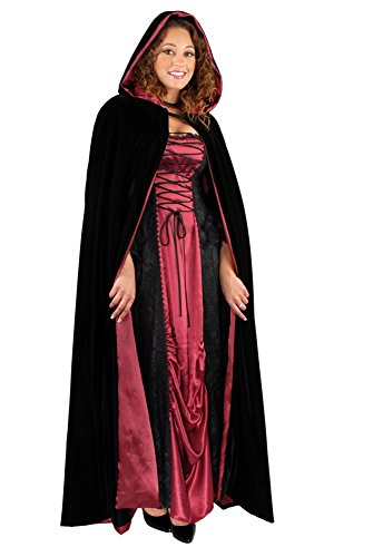 Charades Unisex-Adults Fully Lined Full Length Hooded Velvet Cape, Black/Red, One Size