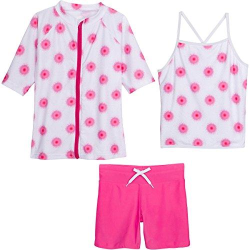 SwimZip Little Girls Short Sleeve Rash Guard Swim Shorts Set with UPF 50+ Pink Graffiti 18-24 Month