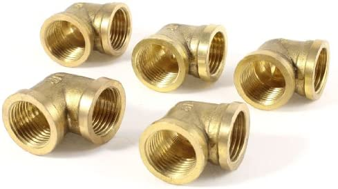 uxcell エルボー継手 真鍮 ゴールドトーン ジョイントアダプタ 直角 均等ポート 5個入り