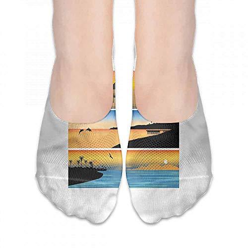 Running Fitness CrossFit S~XXL Beach,Island Design Banner,socks for toddler boys non skid ()